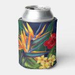 Tropical Paradise Hawaiian Floral Can Cooler at Zazzle