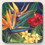 "Tropical Paradise Hawaiian Floral Coasters<br><div class=""desc"">This original digital painting by renowned illustrator Jeff Fillbach is an explosion of the colors of some of nature&#39;s most beautiful flowers. Featuring an array of birds of paradise, plumeria and hibiscus, the items in our Tropical Paradise collection will lift your spirits, and fuel your dreams. Bring paradise to your...</div>"