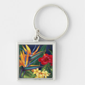 Tropical Paradise Hawaiian Floral Keyrings Silver-Colored Square Keychain