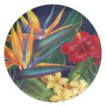 Tropical Paradise Hawaiian Floral Melamine Plate