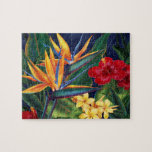 "Tropical Paradise Hawaiian Floral Puzzle with Tin<br><div class=""desc"">This original digital painting by renowned illustrator Jeff Fillbach is an explosion of the colors of some of nature&#39;s most beautiful flowers. Featuring an array of birds of paradise, plumeria and hibiscus, the items in our Tropical Paradise collection will lift your spirits, and fuel your dreams. Bring paradise to your...</div>"