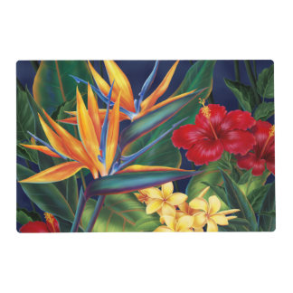 Tropical Paradise Hawaiian Floral Reversible Laminated Placemat