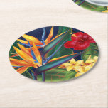 """Tropical Paradise Hawaiian Floral Round Paper Coaster<br><div class=""""desc"""">This original digital painting by renowned illustrator Jeff Fillbach is an explosion of the colors of some of nature&#39;s most beautiful flowers. Featuring an array of birds of paradise, plumeria and hibiscus, the items in our Tropical Paradise collection will lift your spirits, and fuel your dreams. Bring paradise to your...</div>"""
