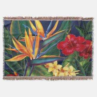 Tropical Paradise Hawaiian Floral Throw Blanket