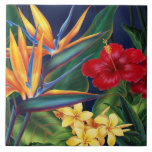 "Tropical Paradise Hawaiian Floral Tiles & Trivets<br><div class=""desc"">This original digital painting by renowned illustrator Jeff Fillbach is an explosion of the colors of some of nature"
