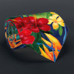 """Tropical Paradise Hawaiian Floral Two-Sided Tie<br><div class=""""desc"""">This original digital painting by renowned illustrator Jeff Fillbach is an explosion of the colors of some of nature's most beautiful flowers. Featuring an array of birds of paradise, plumeria and hibiscus, the items in our Tropical Paradise collection will lift your spirits, and fuel your dreams. Bring paradise to your...</div>"""