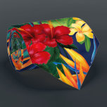 "Tropical Paradise Hawaiian Floral Two-Sided Tie<br><div class=""desc"">This original digital painting by renowned illustrator Jeff Fillbach is an explosion of the colors of some of nature's most beautiful flowers. Featuring an array of birds of paradise, plumeria and hibiscus, the items in our Tropical Paradise collection will lift your spirits, and fuel your dreams. Bring paradise to your...</div>"