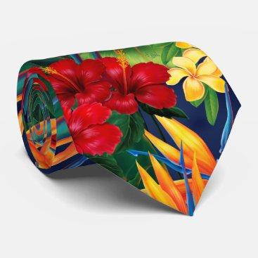 Beach Themed Tropical Paradise Hawaiian Floral Two-Sided Tie