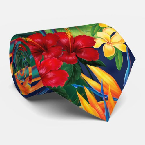 Tropical Paradise Hawaiian Floral Two_Sided Tie