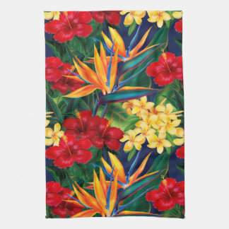 Tropical Paradise Hawaiian Floral Vertical Hand Towels