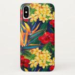 Tropical Paradise Hawaiian Floral Vertical iPhone X Case