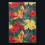 """Tropical Paradise Hawaiian Floral Vertical Kitchen Towel<br><div class=""""desc"""">This original digital painting by renowned illustrator Jeff Fillbach is an explosion of the colors of some of nature&#39;s most beautiful flowers. Featuring an array of birds of paradise, plumeria and hibiscus, the items in our Tropical Paradise collection will lift your spirits, and fuel your dreams. Bring paradise to your...</div>"""