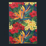 "Tropical Paradise Hawaiian Floral Vertical Kitchen Towel<br><div class=""desc"">This original digital painting by renowned illustrator Jeff Fillbach is an explosion of the colors of some of nature&#39;s most beautiful flowers. Featuring an array of birds of paradise, plumeria and hibiscus, the items in our Tropical Paradise collection will lift your spirits, and fuel your dreams. Bring paradise to your...</div>"