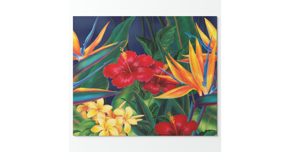 Tropical Paradise Hawaiian Floral Wrapping Paper | Zazzle