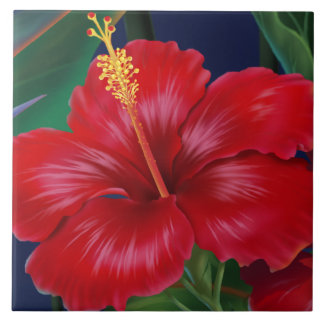 Tropical Paradise Hawaiian Hibiscus Tiles & Trivet