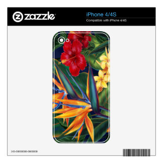 Tropical Paradise Hawaiian iPhone 4/4S Skin Decal For The iPhone 4S