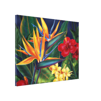 Tropical Paradise Hawaiian Large Wrapped Canvas Canvas Print
