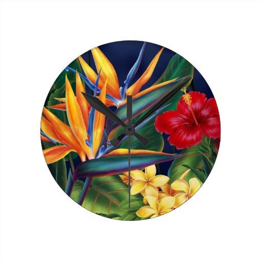 Tropical Paradise Hawaiian Wall Clocks