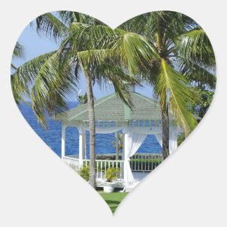 Tropical Paradise Heart Sticker