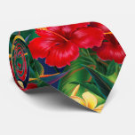 Tropical Paradise Hibiscus Hawaiian Two-sided Tie at Zazzle