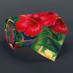 "Tropical Paradise Hibiscus Hawaiian Two-Sided Tie<br><div class=""desc"">This original digital painting by renowned illustrator Jeff Fillbach is an explosion of the colors of some of nature&#39;s most beautiful flowers. Featuring an array of birds of paradise, plumeria and hibiscus, the items in our Tropical Paradise collection will lift your spirits, and fuel your dreams. Bring paradise to your...</div>"