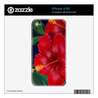 Tropical Paradise Hibiscus iPhone 4/4S Skin
