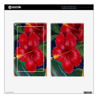 Tropical Paradise Hibiscus Kindle or eReader Skin Decals For Kindle Fire
