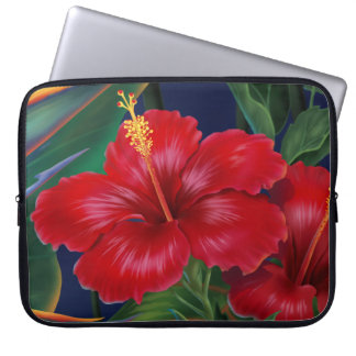 Tropical Paradise Hibiscus Neoprene Wetsuit Laptop Sleeve Cases