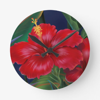 Tropical Paradise Hibiscus Wall Clocks