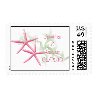 Tropical Paradise in Green and Pink Postage Stamp