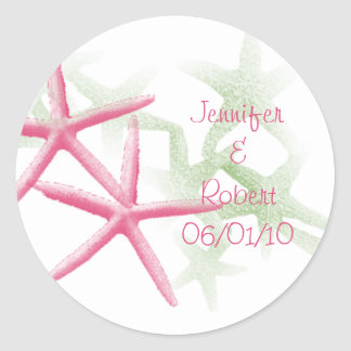 Tropical Paradise in Green and Pink Classic Round Sticker