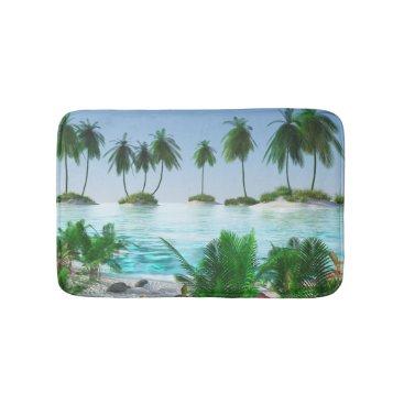 Beach Themed Tropical Paradise Island Bath Mat