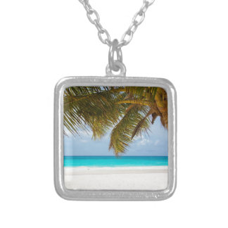 tropical paradise  island beach water sand surf square pendant necklace