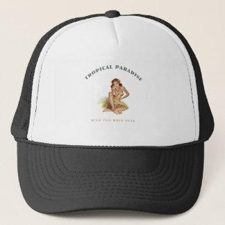 Tropical Paradise Island Girl Trucker Hat
