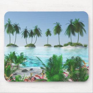 Tropical Paradise Island Mouse Pad