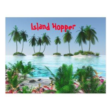 Beach Themed Tropical Paradise Island Postcard