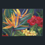 """Tropical Paradise Kitchen Towel<br><div class=""""desc"""">This original digital painting by renowned illustrator Jeff Fillbach is an explosion of the colors of some of nature&#39;s most beautiful flowers. Featuring an array of birds of paradise, plumeria and hibiscus, the items in our Tropical Paradise collection will lift your spirits, and fuel your dreams. Bring paradise to your...</div>"""