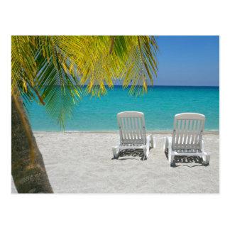 Tropical paradise lounger postcard