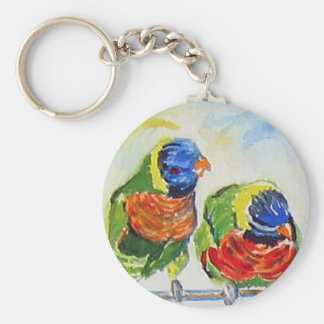 Tropical Paradise love birds via watercolor art Basic Round Button Keychain