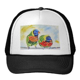 Tropical Paradise love birds via watercolor art Trucker Hats