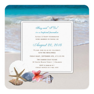 Tropical Paradise Marriage and Reception Card