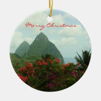 Tropical Paradise Merry Christmas Ornament