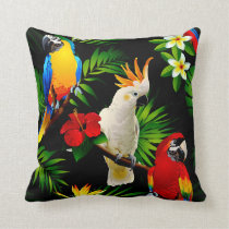 Tropical Paradise Parrots Throw Pillow