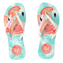 Tropical Paradise Pink Flamingos with Monogram Flip Flops
