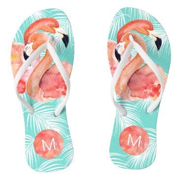 Beach Themed Tropical Paradise Pink Flamingos with Monogram Flip Flops