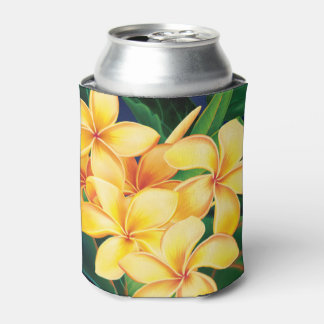 Tropical Paradise Plumeria Hawaiian Can Cooler