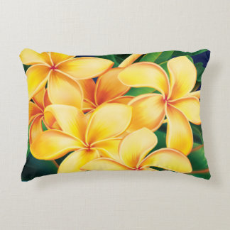 Tropical Paradise Plumeria Hawaiian Decorative Pillow