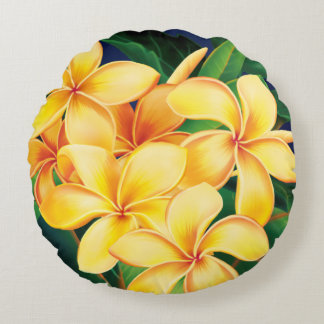 Tropical Paradise Plumeria Hawaiian Round Pillow