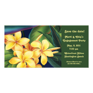 Tropical Paradise Plumeria Invite & Photo card