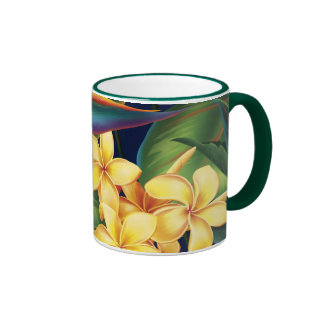 Tropical Paradise Plumeria Two-Tone Hunter Mug